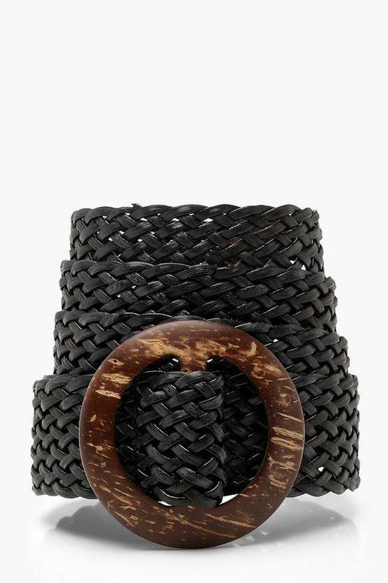 Wooden Buckle Weave Detail Belt
