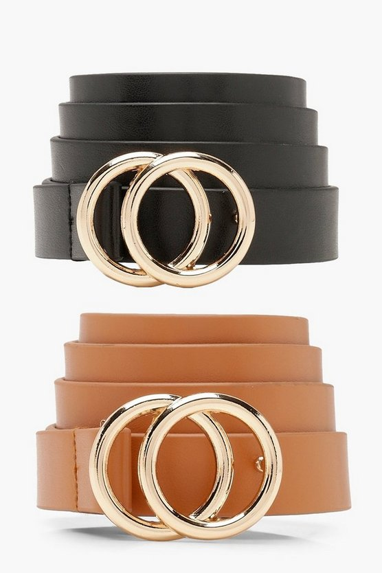 Womens Multi 2 PK Double Ring Boyfriend Belt