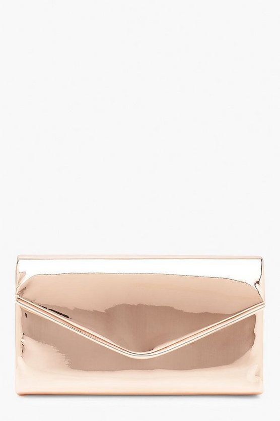 Womens Rose Matallic Piping Envelope Clutch