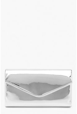 Womens Silver Matallic Piping Envelope Clutch