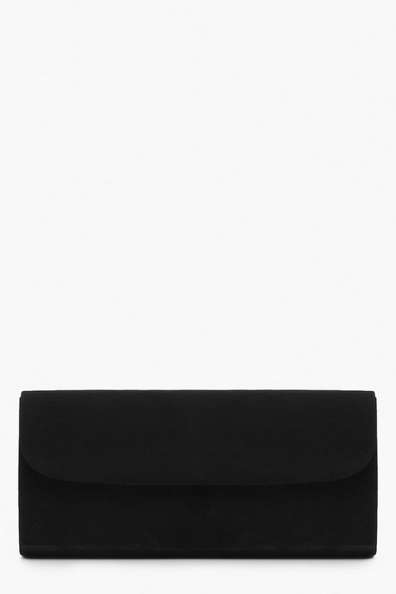Womens Black Suedette Envelope Clutch
