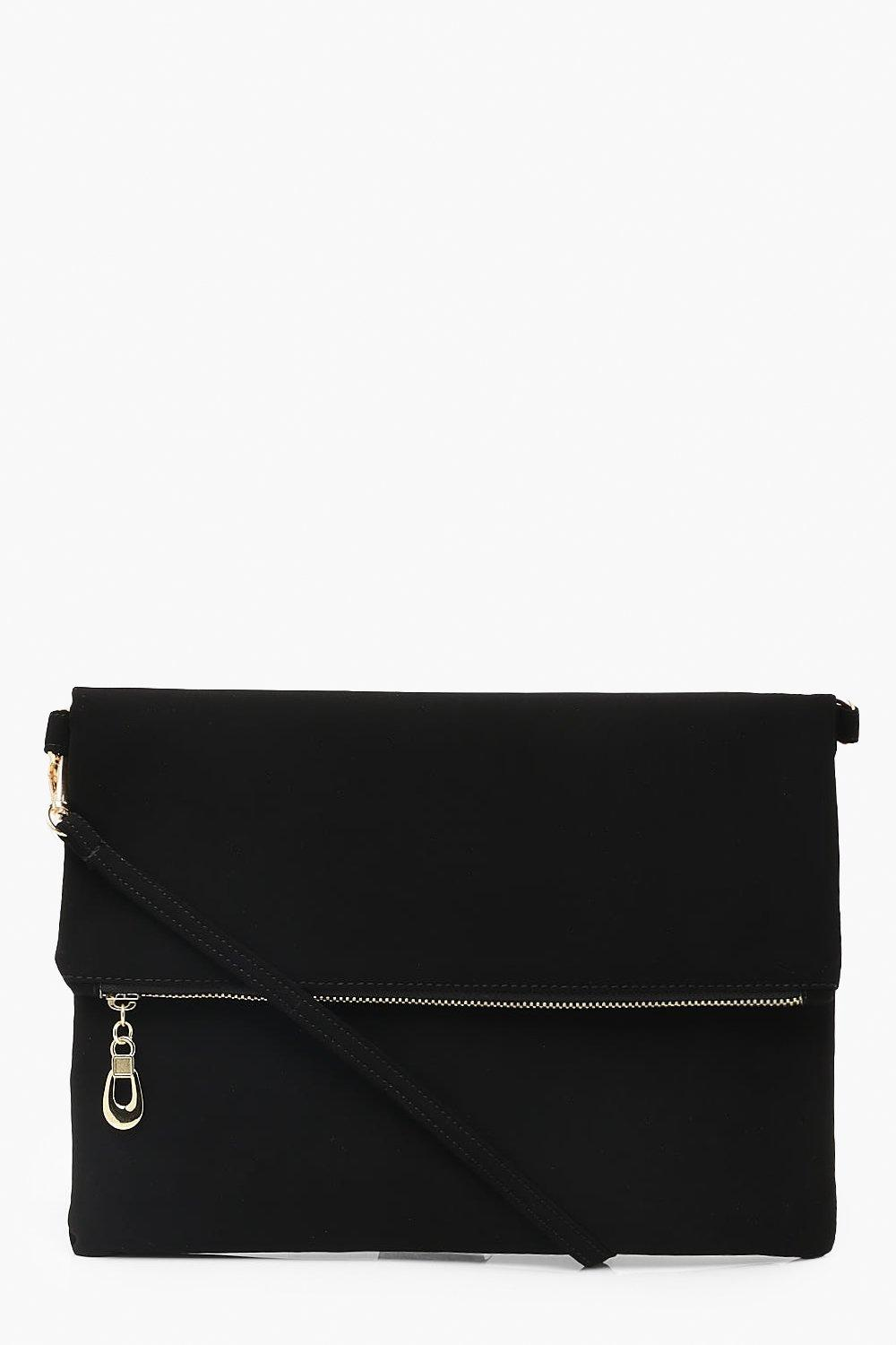 Suedette Foldover Clutch With Strap