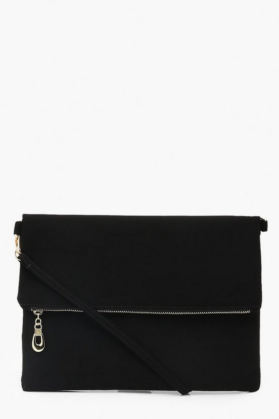 Womens Black Suedette Foldover Clutch With Strap