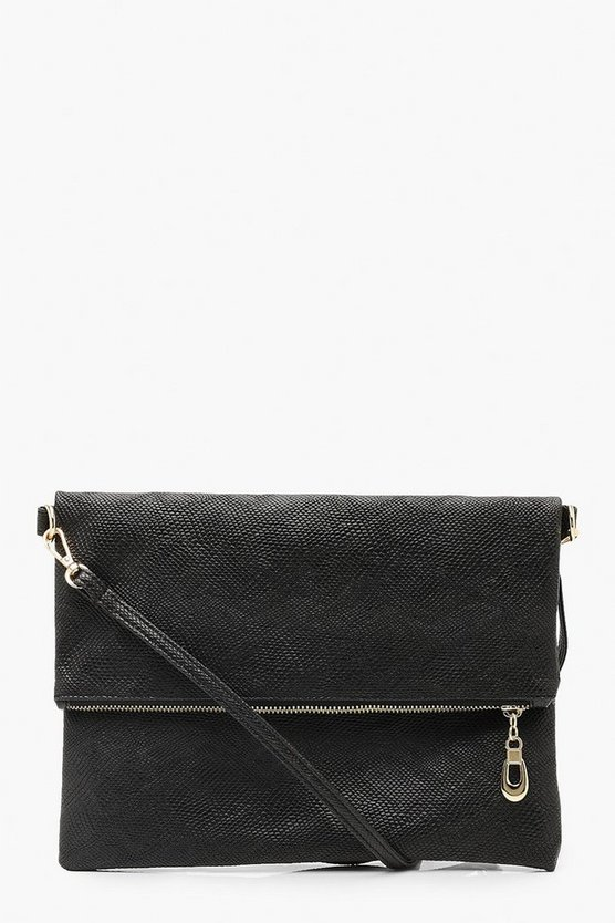 Womens Black Faux Snake Foldover Clutch & Strap