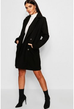 Black Military Button Through Wool Look Coat