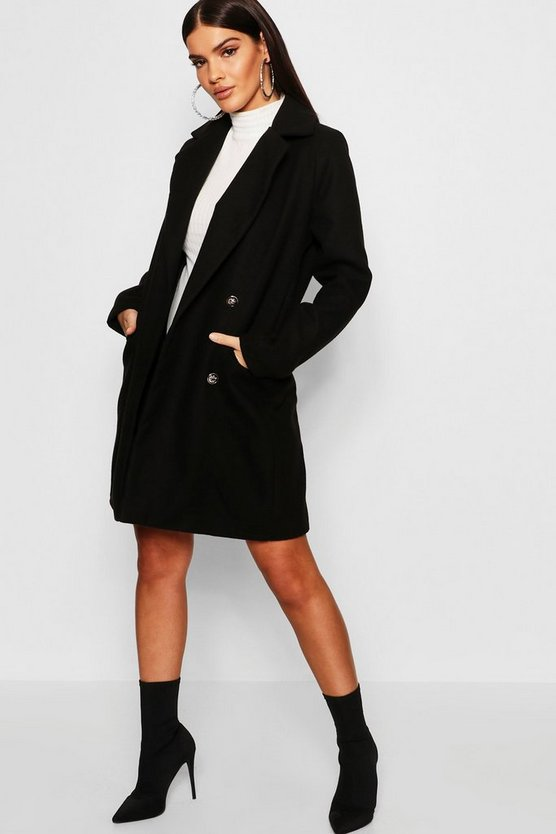 Womens Black Military Button Through Wool Look Coat