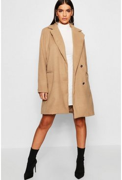 Womens Camel Military Button Through Wool Look Coat