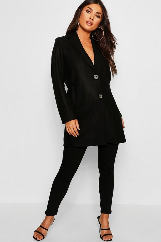 Womens Black Button Through Wool Look Coat