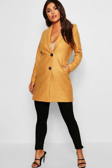 Womens Mustard Button Through Wool Look Coat