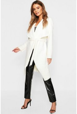 Womens Cream Brushed Wool Look Belted Waterfall Coat