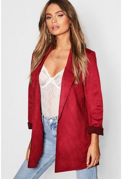 Womens Red Suedette Edge To Edge Jacket
