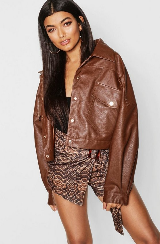 PU Oversized Trucker Jacket