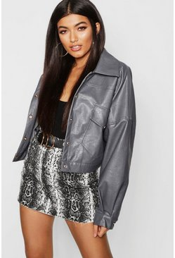 Womens Grey PU Oversized Trucker Jacket