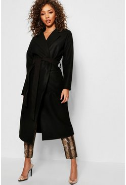 Womens Black Longline Belted Wool Look Coat