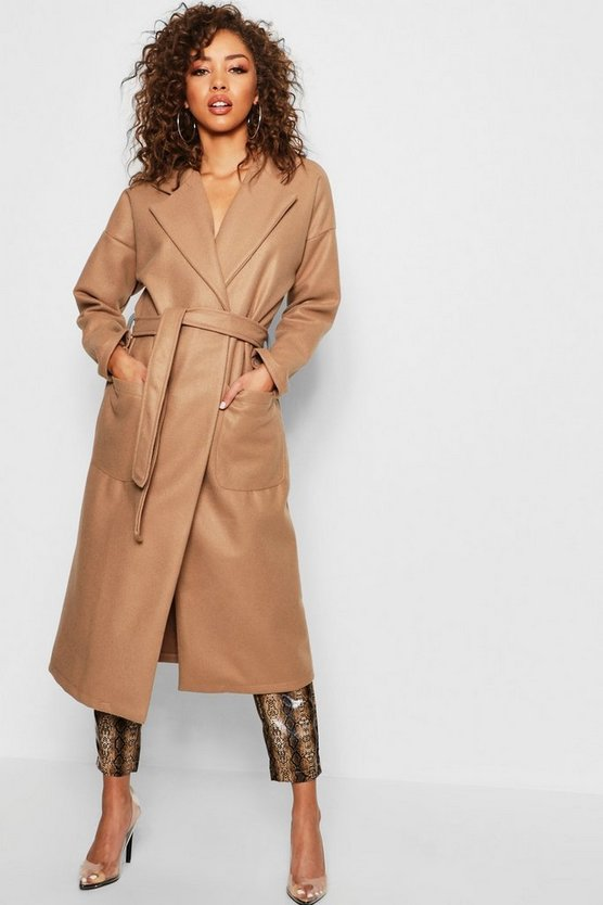 Womens Camel Longline Belted Wool Look Coat