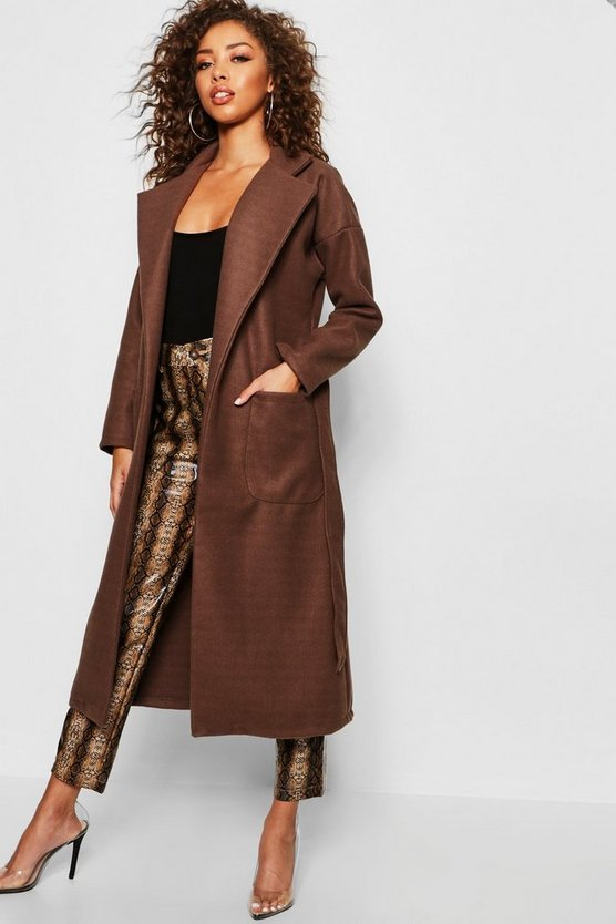 Womens Mocha Longline Belted Wool Look Coat