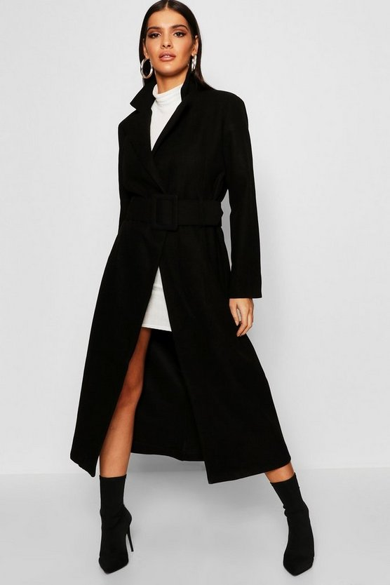 Womens Black Covered Belt Wool Look Coat