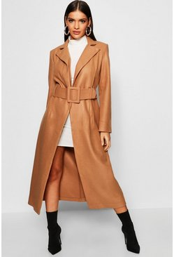 Womens Camel Covered Belt Wool Look Coat