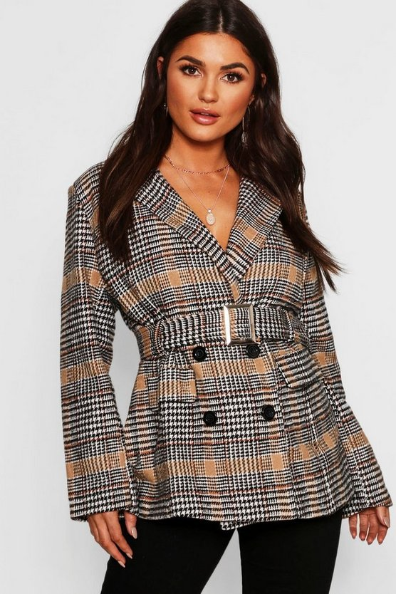 Camel Check Belted Wool Look Blazer