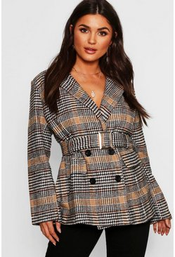 Womens Camel Check Belted Wool Look Blazer