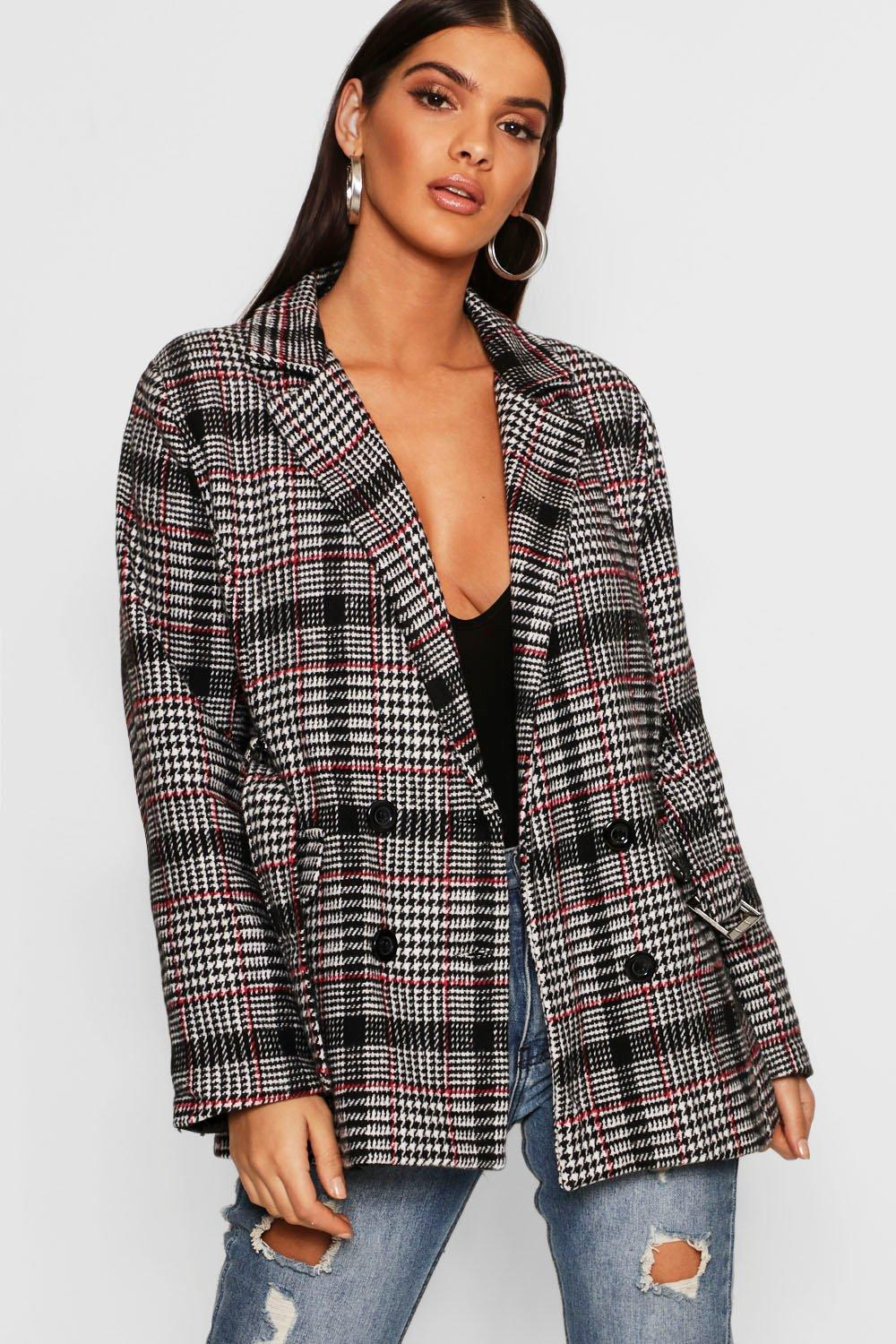 Check Belted Wool Look Blazer