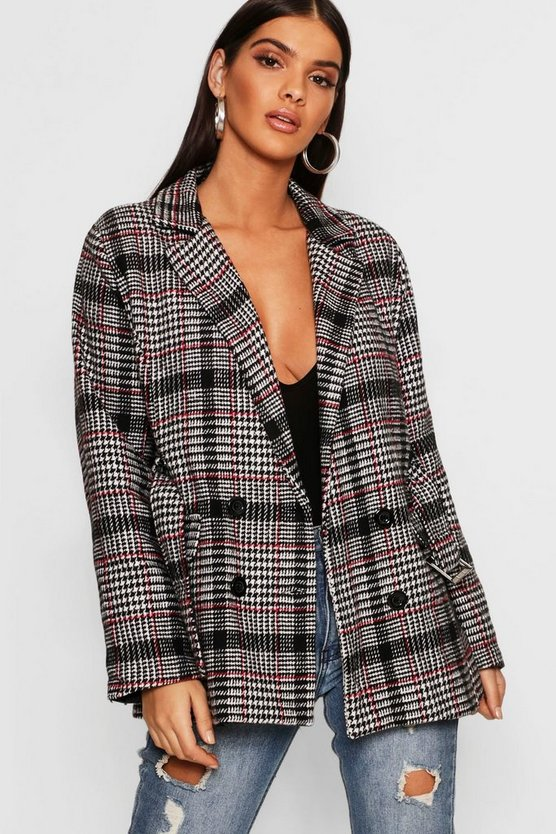 Womens Wine Check Belted Wool Look Blazer