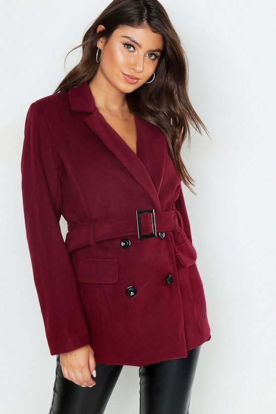 Womens Wine Belted Double Breasted Wool Look Blazer