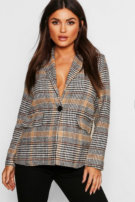 Womens Camel Check Wool Look Blazer Coat