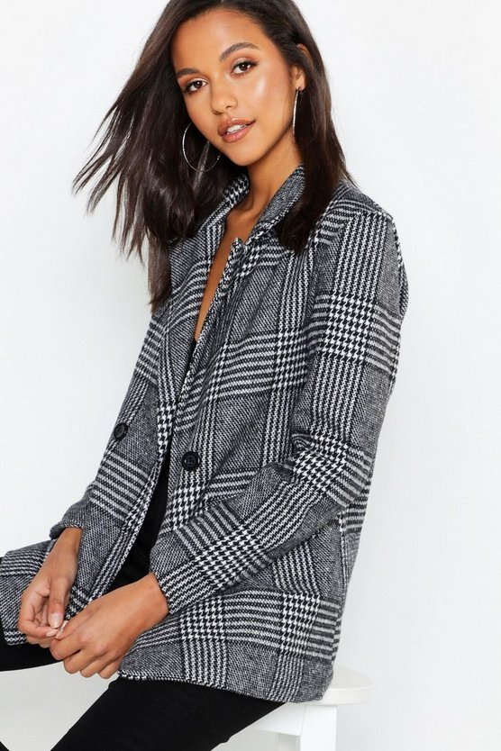 Relaxed Check Double Breasted Blazer