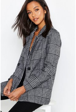 Womens Black Relaxed Check Double Breasted Blazer