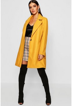 Womens Mustard Covered Belt Wool Look Coat