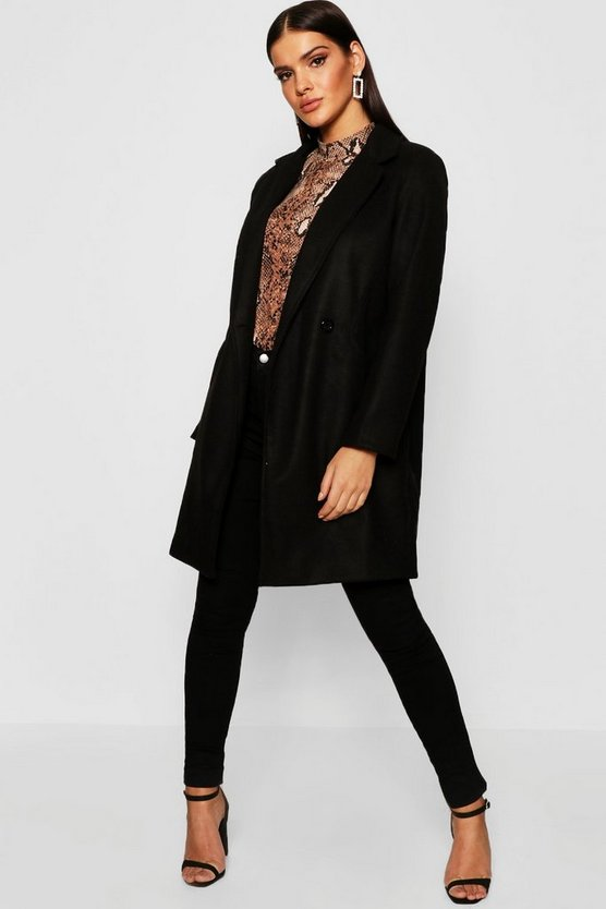 Womens Black Seam Detail Wool Look Coat