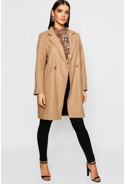Womens Camel Seam Detail Wool Look Coat