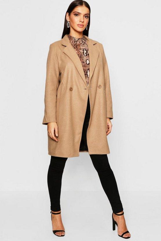 Seam Detail Wool Look Coat