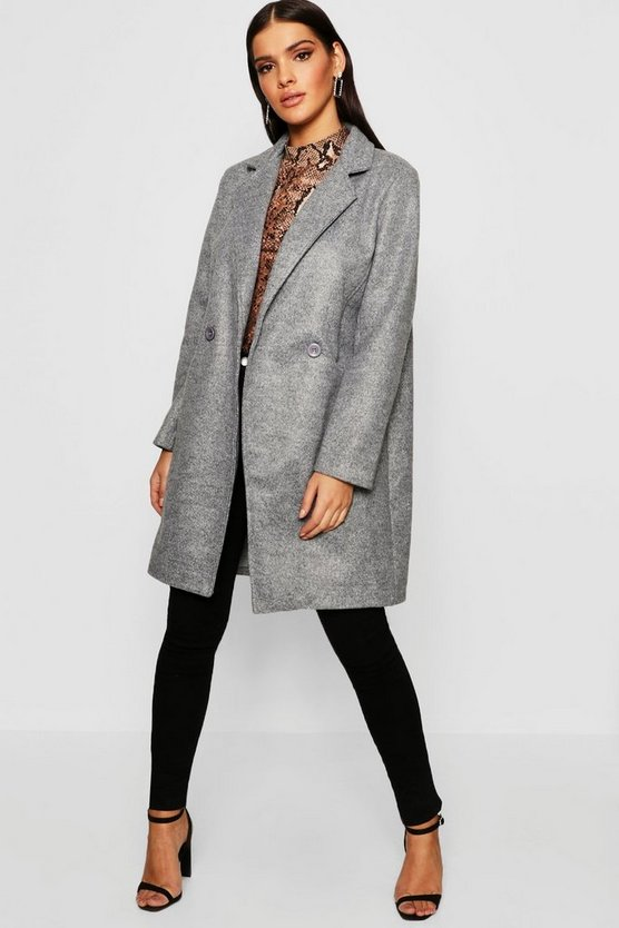 Seam Detail Wool Look Coat