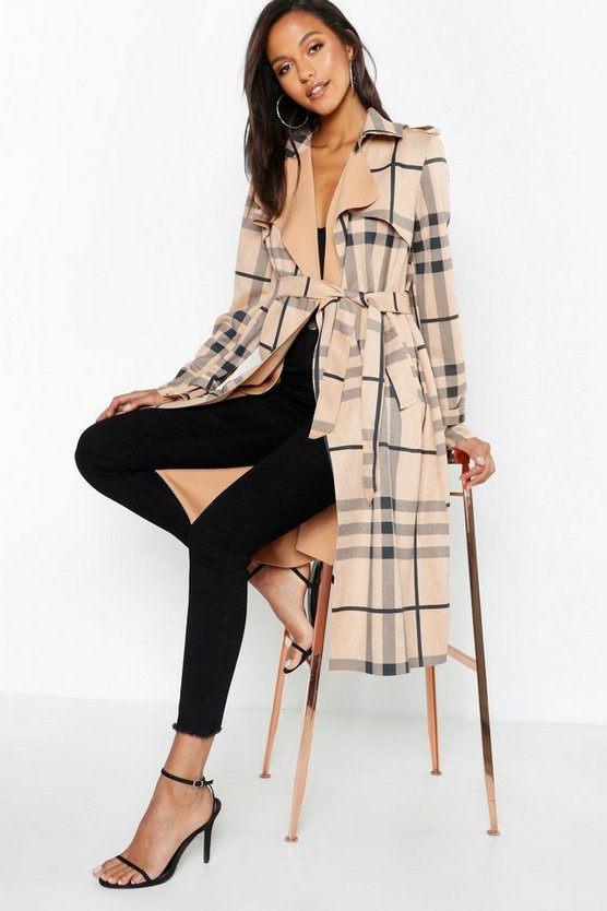 Check Suedette Trench Coat