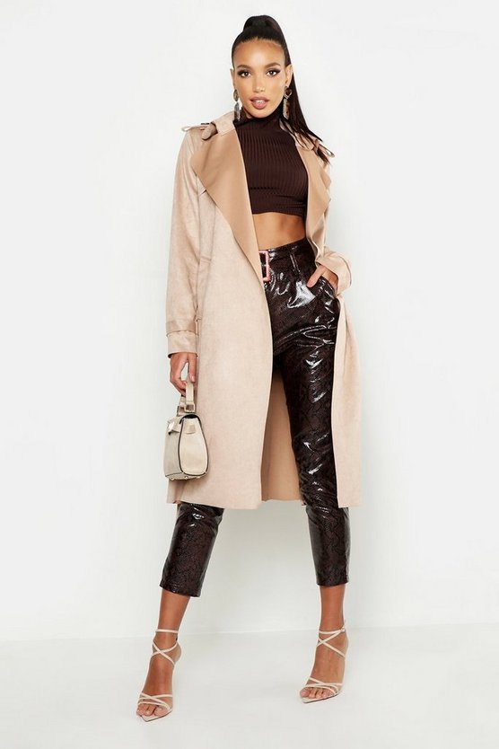 Faux Suede Belted Trench Coat