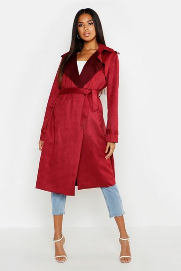 Womens Wine Faux Suede Belted Trench Coat