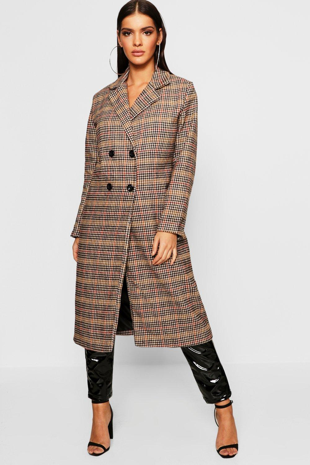 Longline Edge To Edge Check Coat