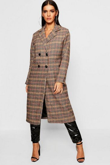 Womens Brown Longline Edge To Edge Check Coat