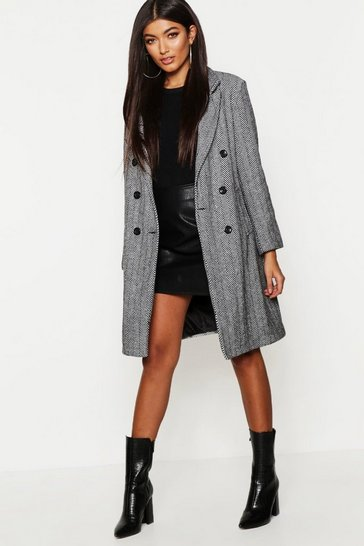 Womens Black Herringbone Double Breasted Wool Look Coat