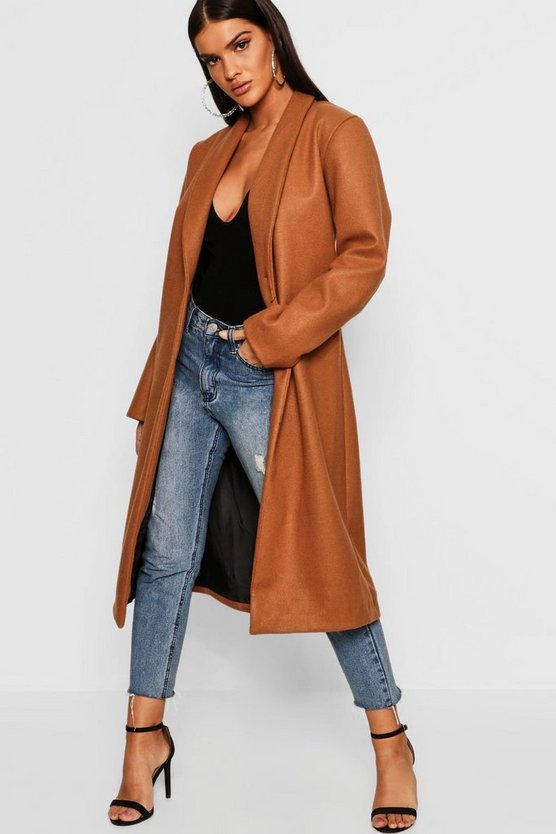 Womens Camel Collared Edge To Edge Wool Look Coat