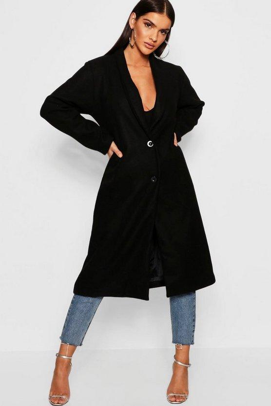 Collared Edge To Edge Wool Look Coat
