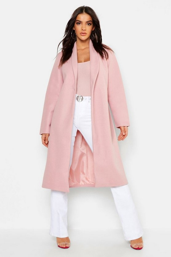 Womens Pink Collared Edge To Edge Wool Look Coat