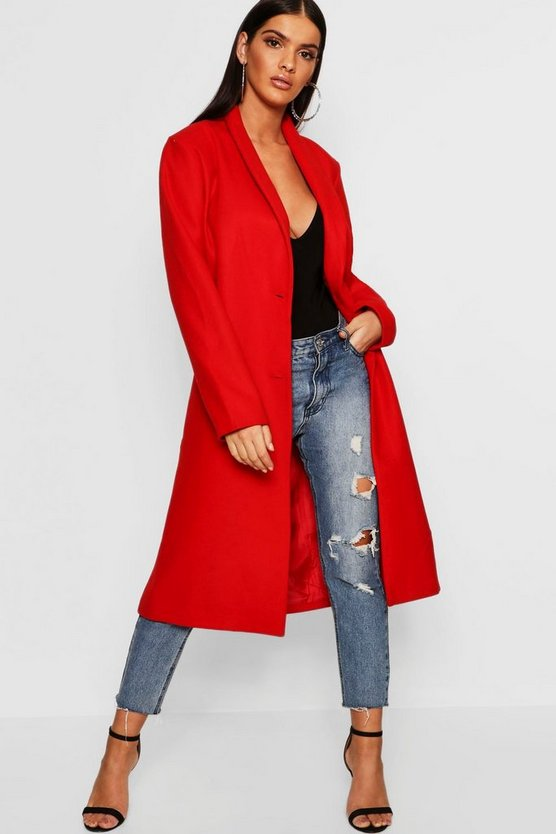 Womens Red Collared Edge To Edge Wool Look Coat