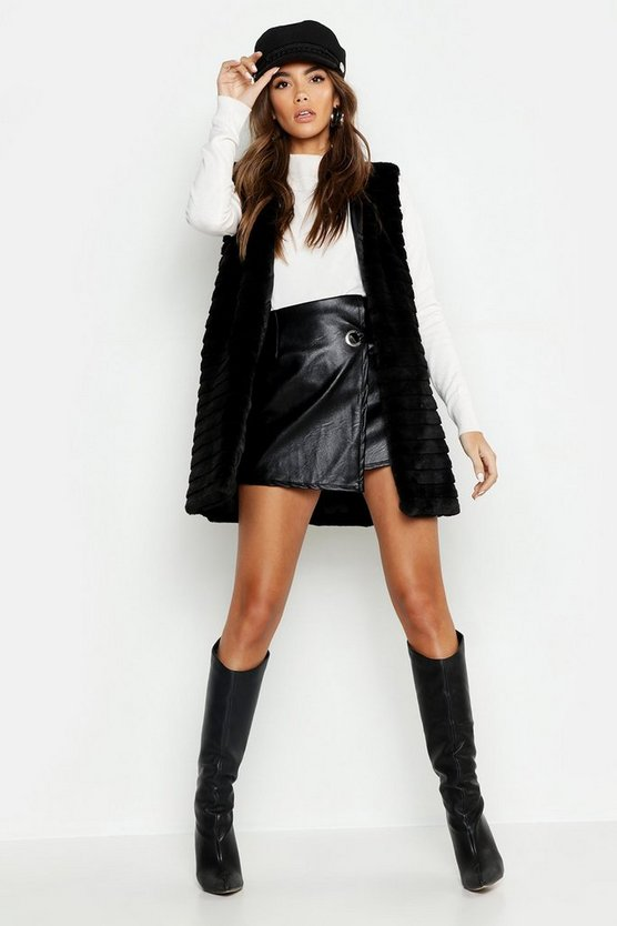 Womens Black Panelled Faux Fur Gilet