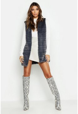 Womens Grey Panelled Faux Fur Gilet