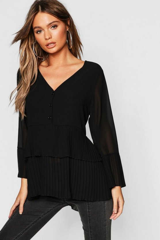 Black Pleated Button Smock Blouse