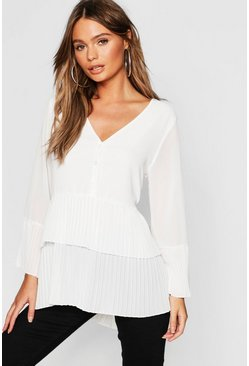Womens Ivory Pleated Button Smock Blouse
