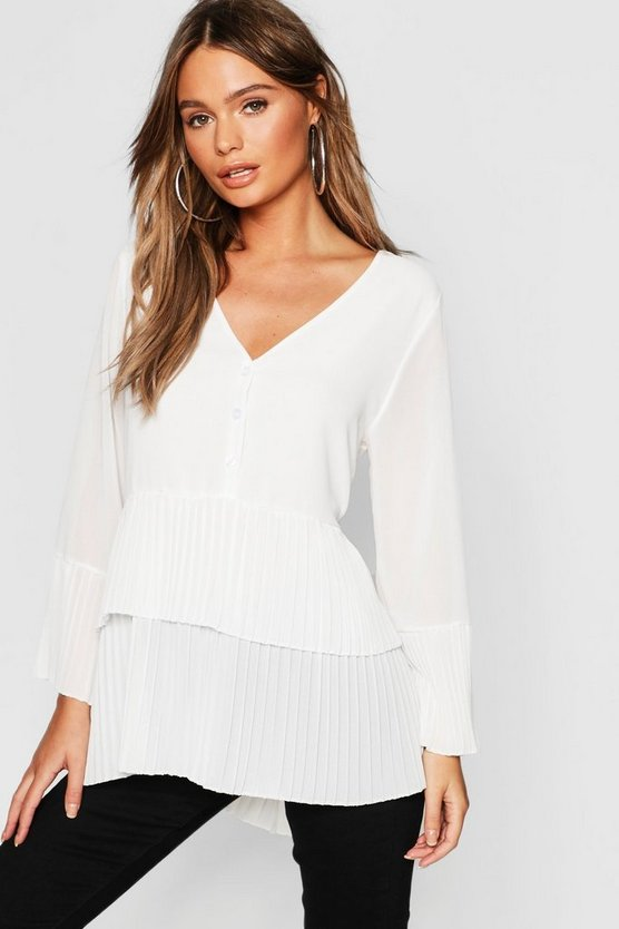Pleated Button Smock Blouse